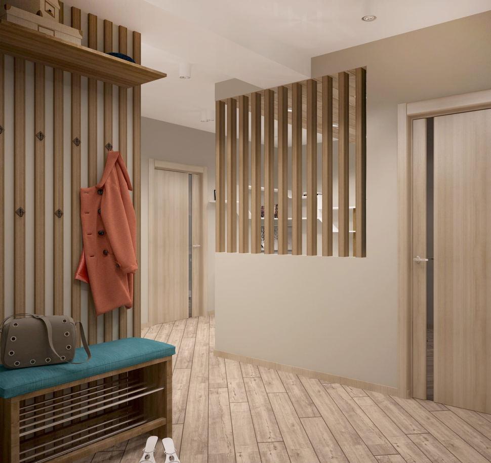 Дизайн интерьера прихожей в теплых тонах 7 кв.м,, бирюзовая скамья, вешалка, подвесная полка, ламинат, потолочные светильники