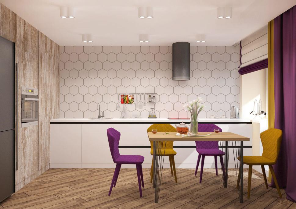 Визуализация кухни-гостиной 33 кв.м в 3-х комнатной квартире в белых тонах в сочетании с акцентными сиреневыми оттенками, духовой шкаф, холодильник