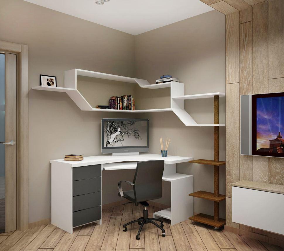 Визуализация кухни-гостиной в серых тонах 12 кв.м, белый рабочий стол, белая полка, офисное кресло