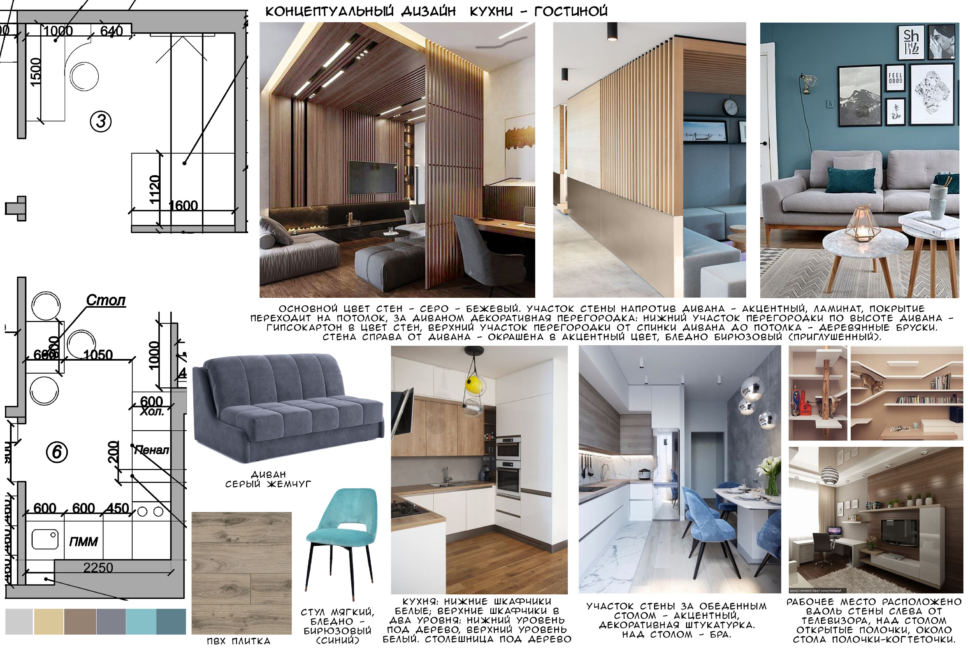 Концептуальный дизайн гостиной, серый диван, пвх плитка, бирюзовый стул, кухонный гарнитур
