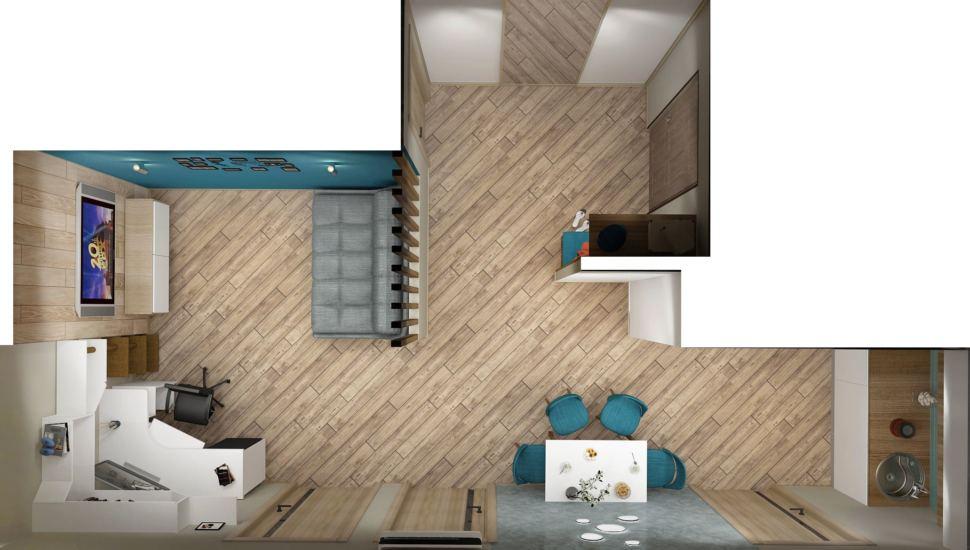 Визуализация кухни-гостиной 20 кв.м с древесными оттенками, серый диван, белая тумба под ТВ, белый рабочий стол, черное кресло