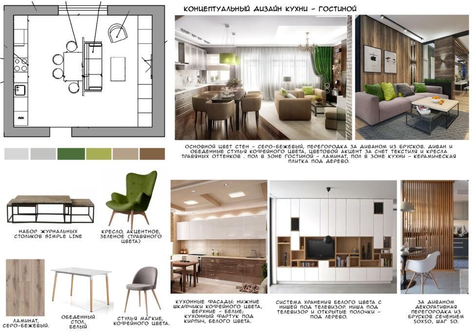 Концептуальный дизайн кухни-гостиной 28 кв.м, кресло, набор журнальных столиков, ламинат, белый обеденный стол, стулья