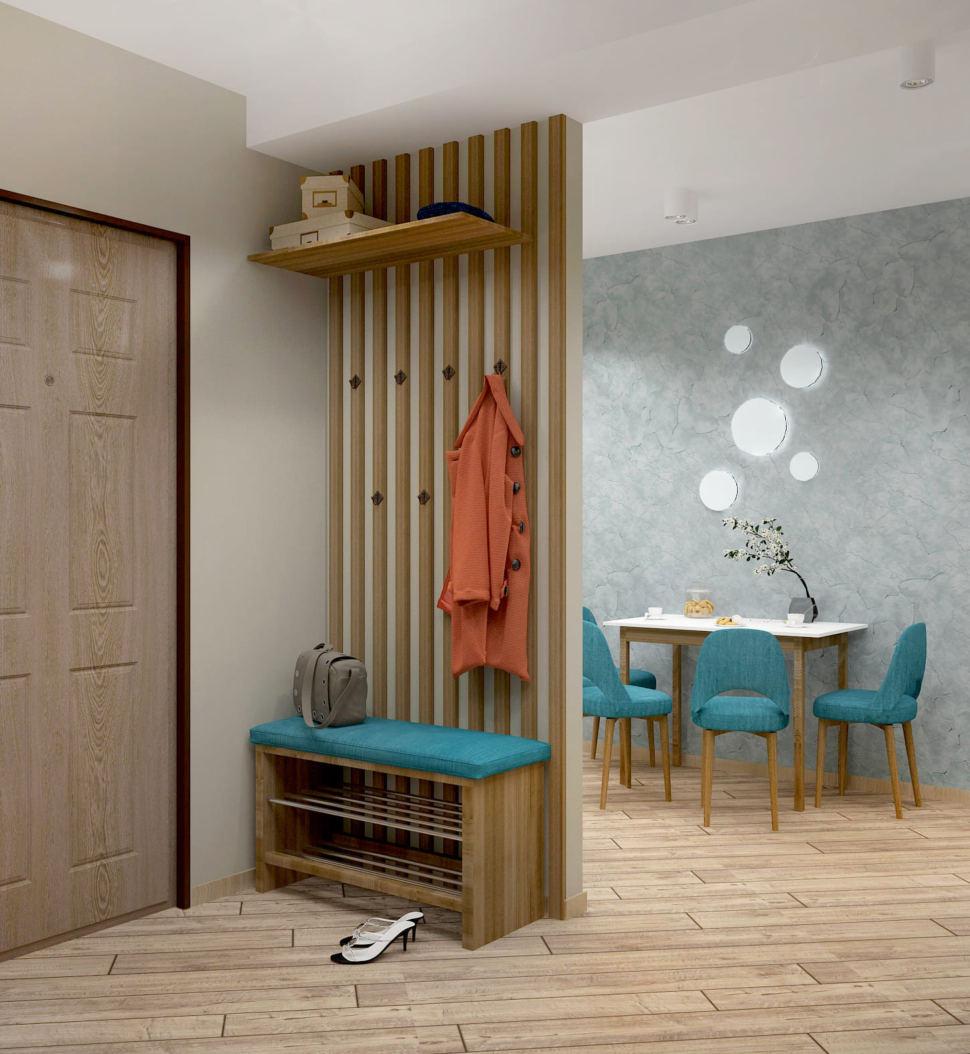 Дизайн-проект прихожей в теплых тонах 7 кв.м, скамья под дерево, вешалка, подвесная полка, бежевый ламинат, белые накладные светильники