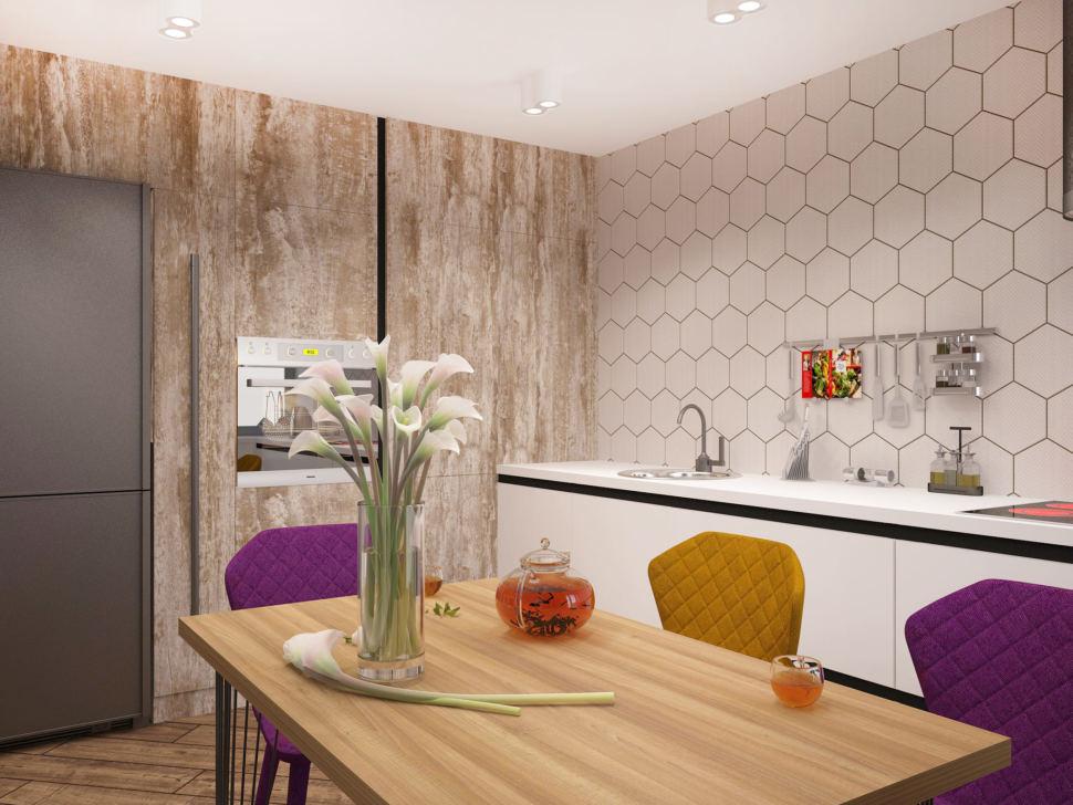 Дизайн-проект кухни-гостиной 33 кв.м в 3-х комнатной квартире в древесных тонах в сочетании с акцентными горчичными оттенками, обеденный стол