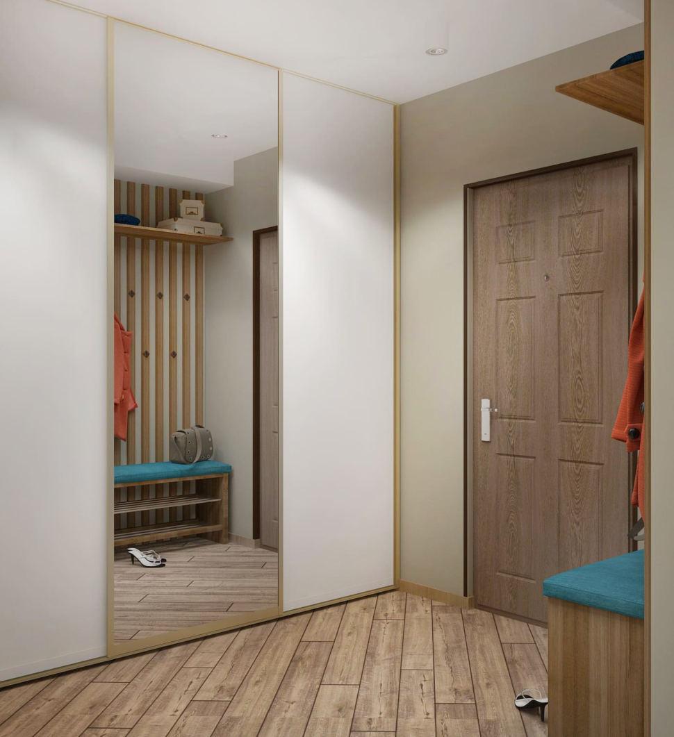 Визуализация прихожей в теплых тонах 7 кв.м, белый шкаф-купе, зеркало, скамья под дерево, подвесная полка