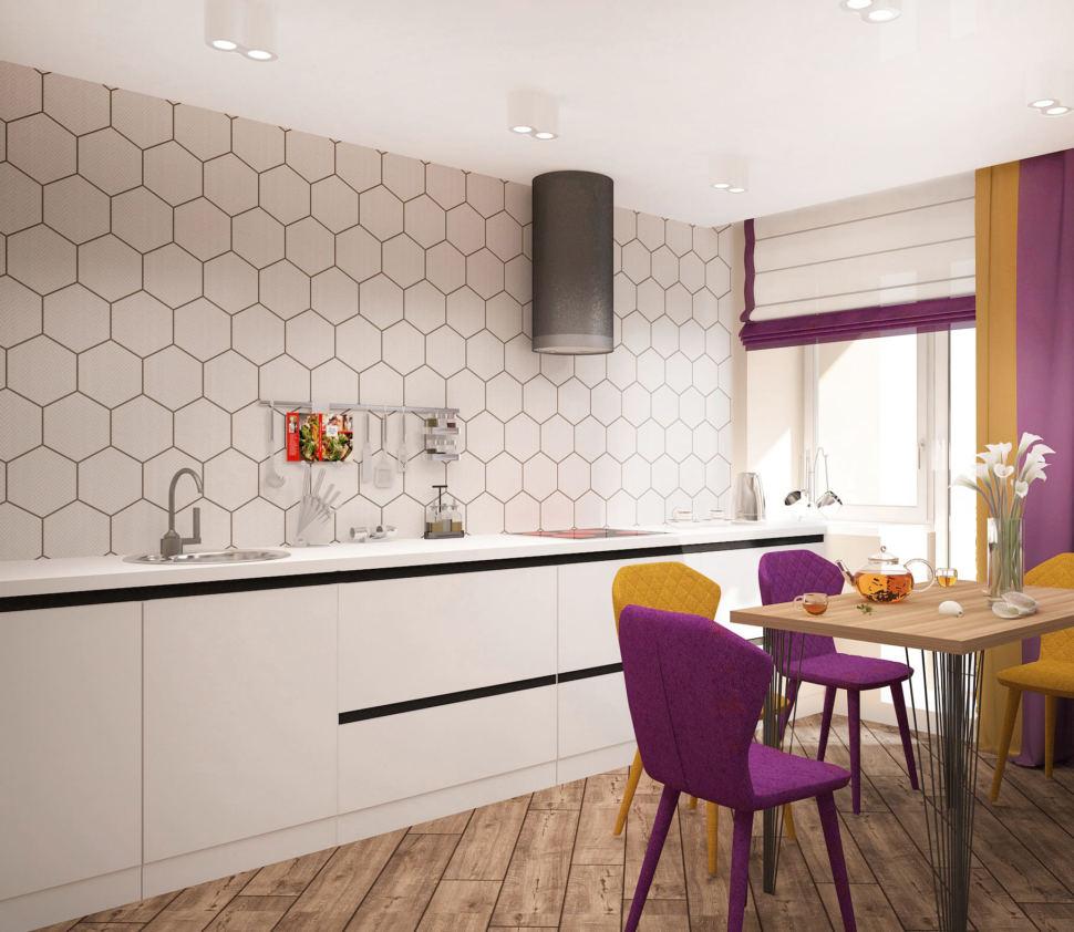 Визуализация кухни-гостиной 33 кв.м в 3-х комнатной квартире в бежевых тонах в сочетании с акцентными сиреневыми оттенками, обеденный стол