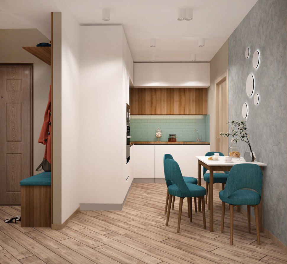 Визуализация кухни-гостиной в серых тонах 12 кв.м, белый кухонный гарнитур, обеденный стол, бирюзовые обеденные стулья, духовой шкаф