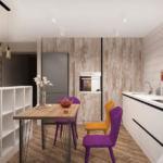 Визуализация кухни-гостиной в древесных тонах 33 кв.м, обеденный стол, фиолетовый стул, белый кухонный гарнитур, холодильник, духовой шкаф