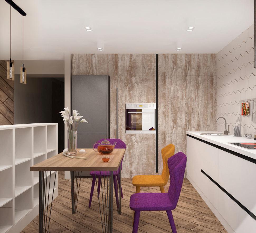 Дизайн интерьера кухни-гостиной 33 кв.м в 3-х комнатной квартире в молочных тонах в сочетании с акцентными горчичными оттенками, обеденный стол, холодильник