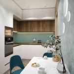 Дизайн-проект кухни-гостиной в серых тонах 12 кв.м, белый обеденный стол, бирюзовые стулья, белый кухонный гарнитур