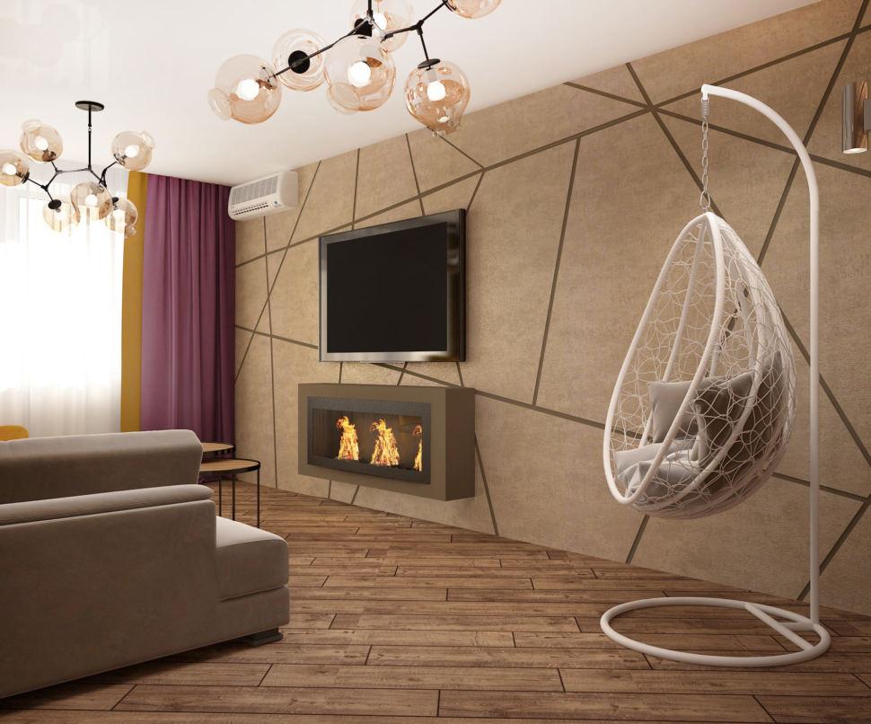 Дизайн интерьера кухни-гостиной 33 кв.м в 3-х комнатной квартире в белых тонах в сочетании с акцентными горчичными оттенками, журнальный столик