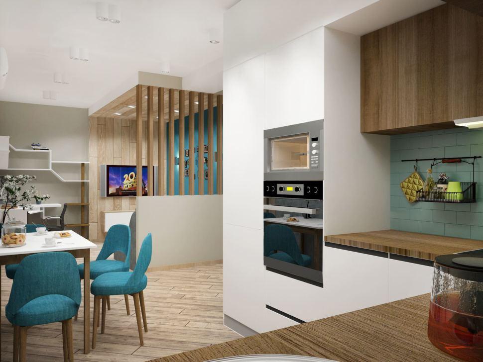 Визуализация кухни-гостиной в серых тонах 12 кв.м, бирюзовые стулья, белый кухонный гарнитур, столешница под дерево, духовой шкаф
