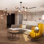Дизайн интерьера кухни-гостиной в древесных тонах 33 кв.м, желтое кресло, журнальный столик, угловой диван, люстра