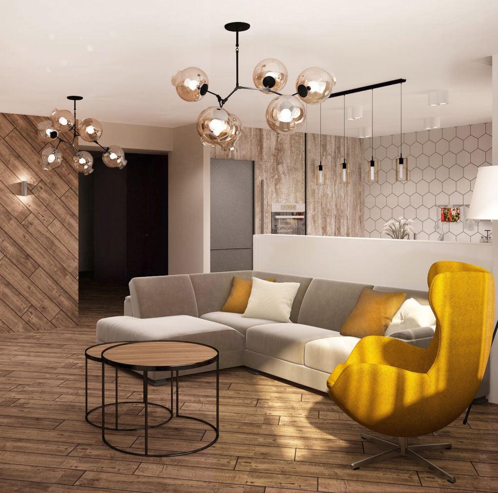 Визуализация кухни-гостиной 33 кв.м в 3-х комнатной квартире в молочных тонах в сочетании с акцентными сиреневыми оттенками, журнальный столик
