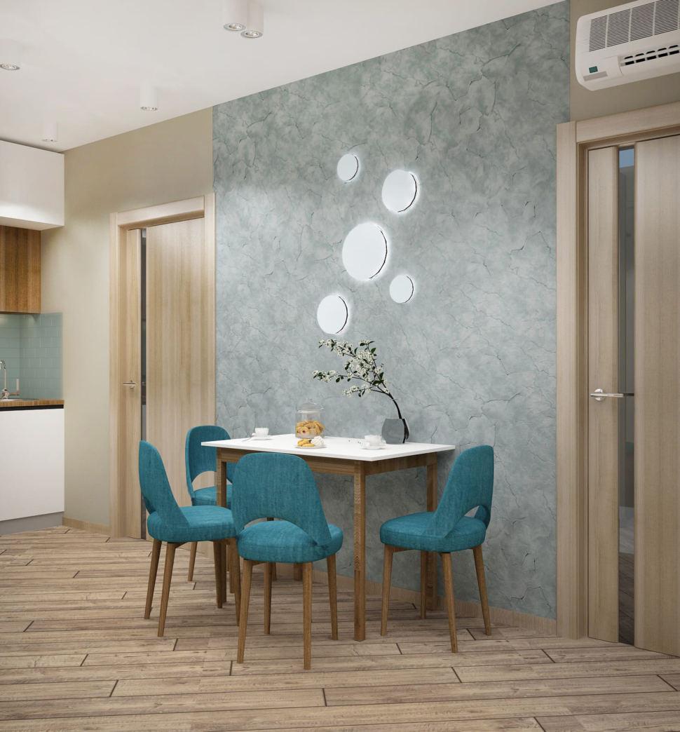 Визуализация кухни-гостиной 20 кв.м с белыми и серыми оттенками, белый обеденный стол, кухонный гарнитур, столешница под дерево, духовой шкаф