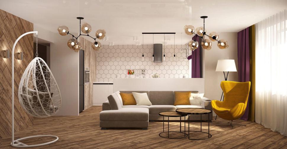 Дизайн-проект кухни-гостиной 33 кв.м в 3-х комнатной квартире в древесных тонах в сочетании с акцентными горчичными оттенками, журнальный столик, желтое кресло