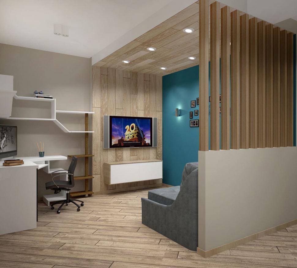 Дизайн интерьера кухни-гостиной в серых тонах 12 кв.м, белая тумба под ТВ, телевизор, серый диван