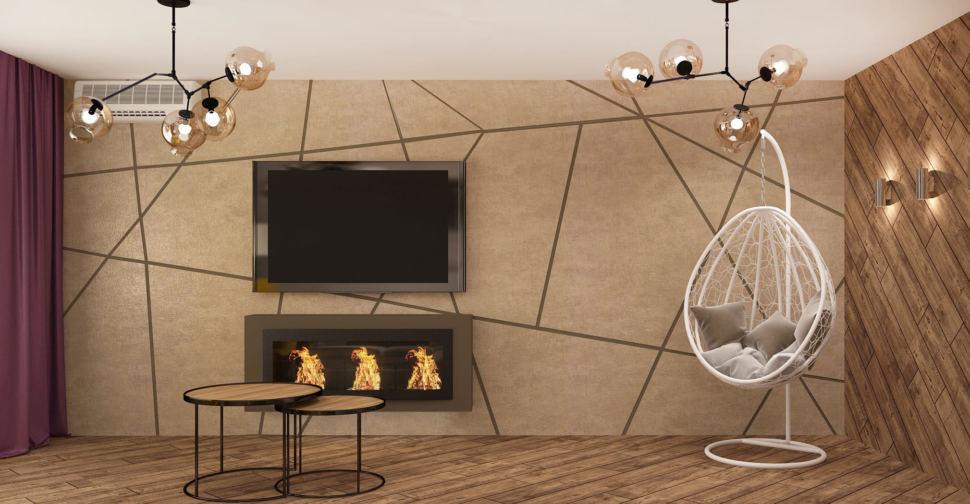 Визуализация кухни-гостиной в древесных тонах 33 кв.м, телевизор, люстра,кондиционер, журнальный столик, белое подвесное кресло, бежевый ламинат