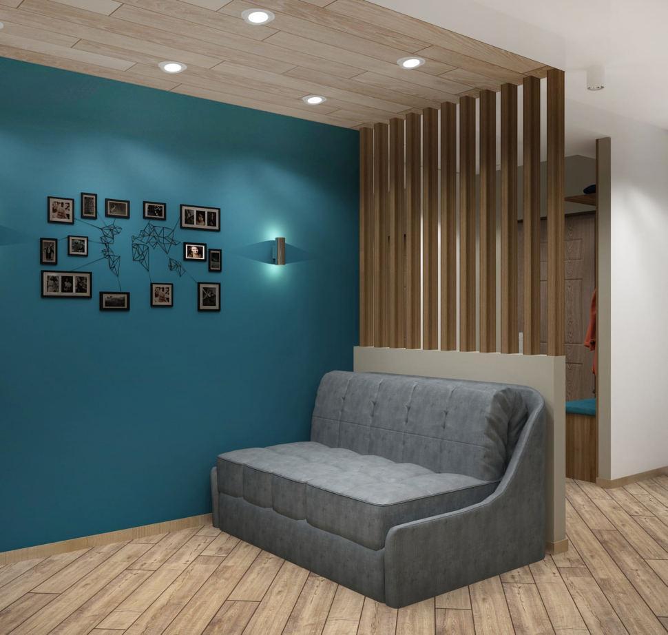 Дизайн-проект кухни-гостиной 20 кв.м с бирюзовыми оттенками, серый диван, белая тумба под ТВ, телевизор