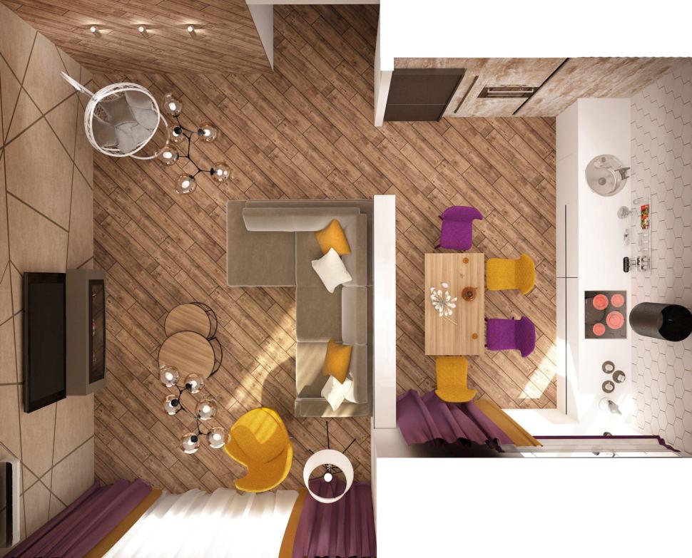 Дизайн интерьера кухни-гостиной 33 кв.м в 3-х комнатной квартире в молочных тонах в сочетании с акцентными сиреневыми оттенками, камин