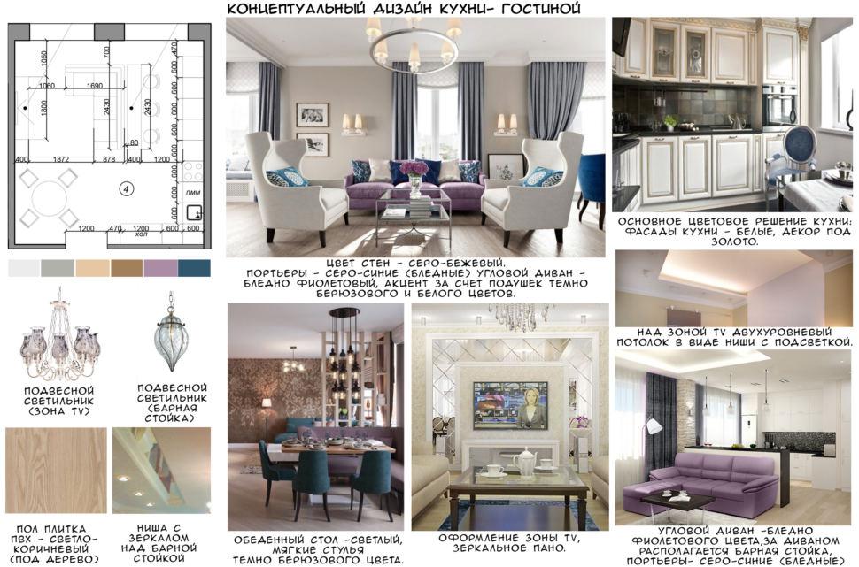 Концептуальный дизайн кухни-гостиной 32 кв.м, светло-коричневая пвх плитка, обеденный стол, бирюзовые стулья, угловой диван