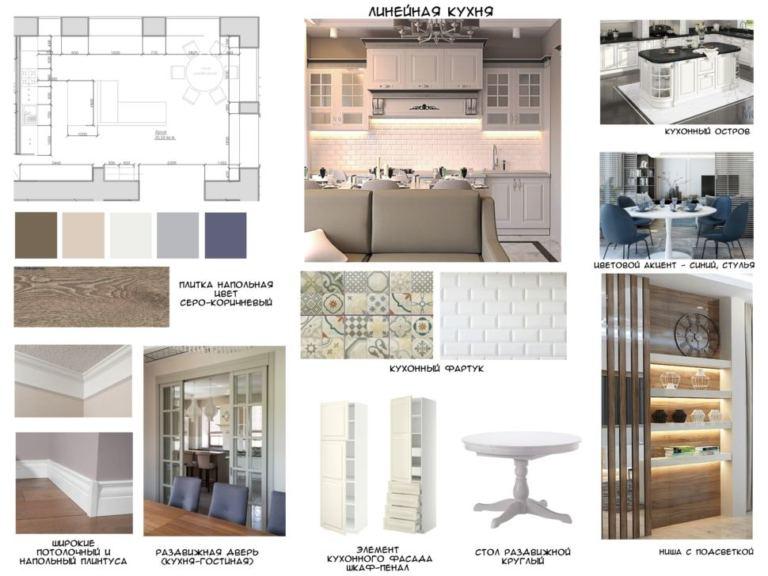 Концептуальный дизайн линейной кухни в серых тонах с синими акцентами, шкаф-пенал, ниша с подсветкой