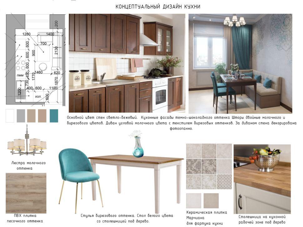 Концептуальный дизайн кухни 11 кв.м. в теплых тонах, керамическая плитка, столешница под дерево, пвх плитка