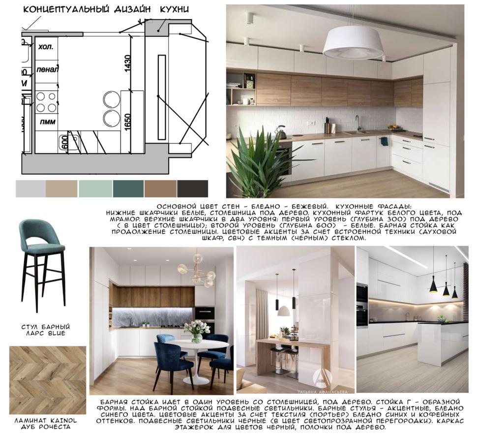 Концептуальный дизайн кухни 14 кв.м, ламинат, синий барный стул, барная стойка, белый кухонный гарнитур