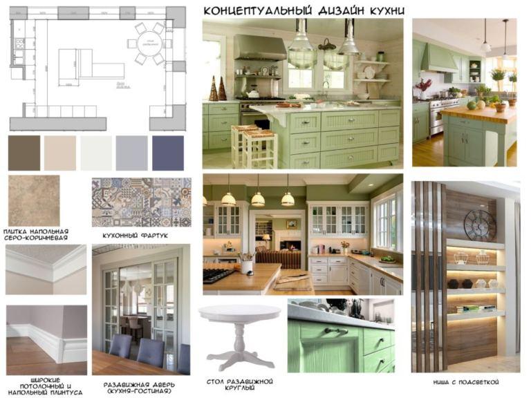 Концептуальный дизайн кухни в зеленных тонах, стол, ниша, плитка, кухонный фартук