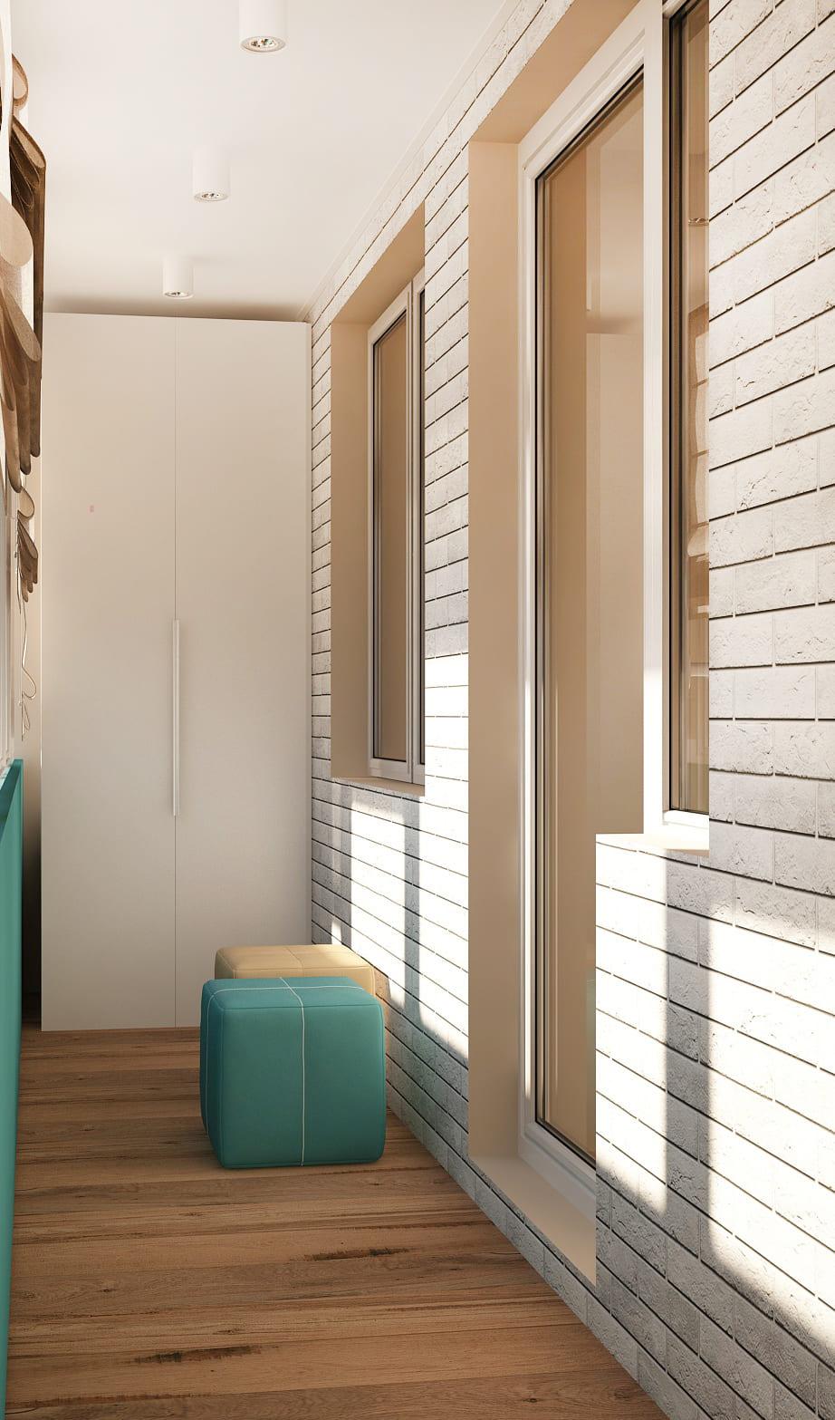 Дизайн-проект лоджии в бирюзовых оттенках 6 кв.м, белый шкаф, бирюзовый пуф, ламинат, накладные светильники