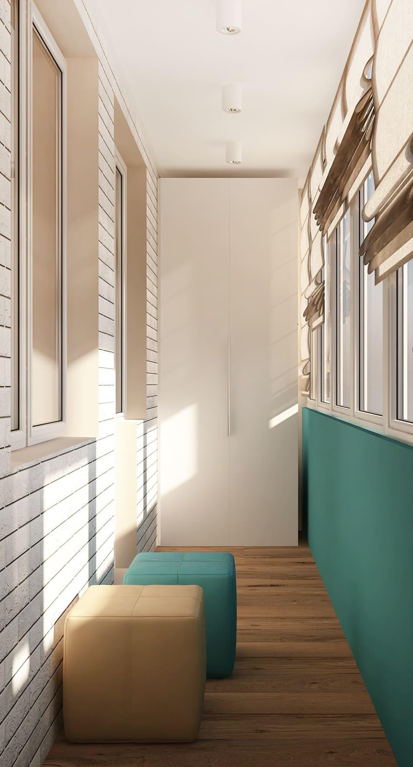 Визуализация лоджии в бирюзовых оттенках 6 кв.м, бирюзовый пуф, белый шкаф, бежевый пуф, белые накладные светильники