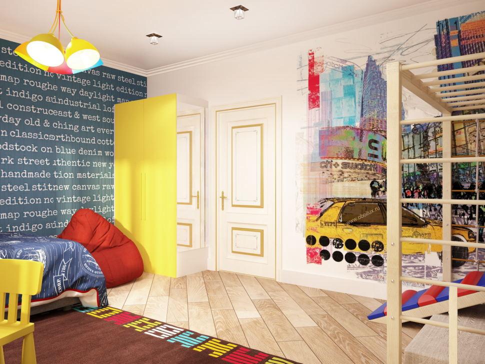 Визуализация комнаты для мальчика 19 кв.м в теплых тонах, желтый шкаф, зеркало, кровать, шведская стенка, желтый стул