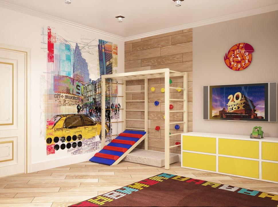 Дизайн-проект комнаты для мальчика 19 кв.м в теплых тонах, шведская стенка, фотообои, желтая тумба, телевизор