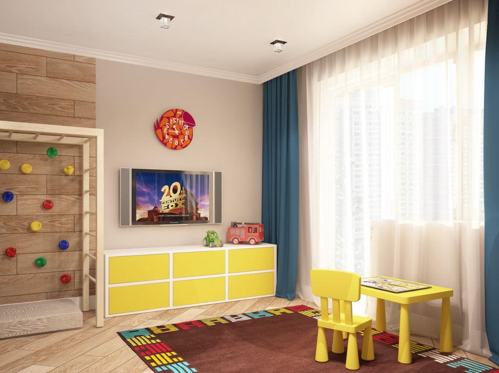 Визуализация комнаты для мальчика 19 кв.м в теплых тонах, желтый детский стол, детский стул, шведская стенка, тумба