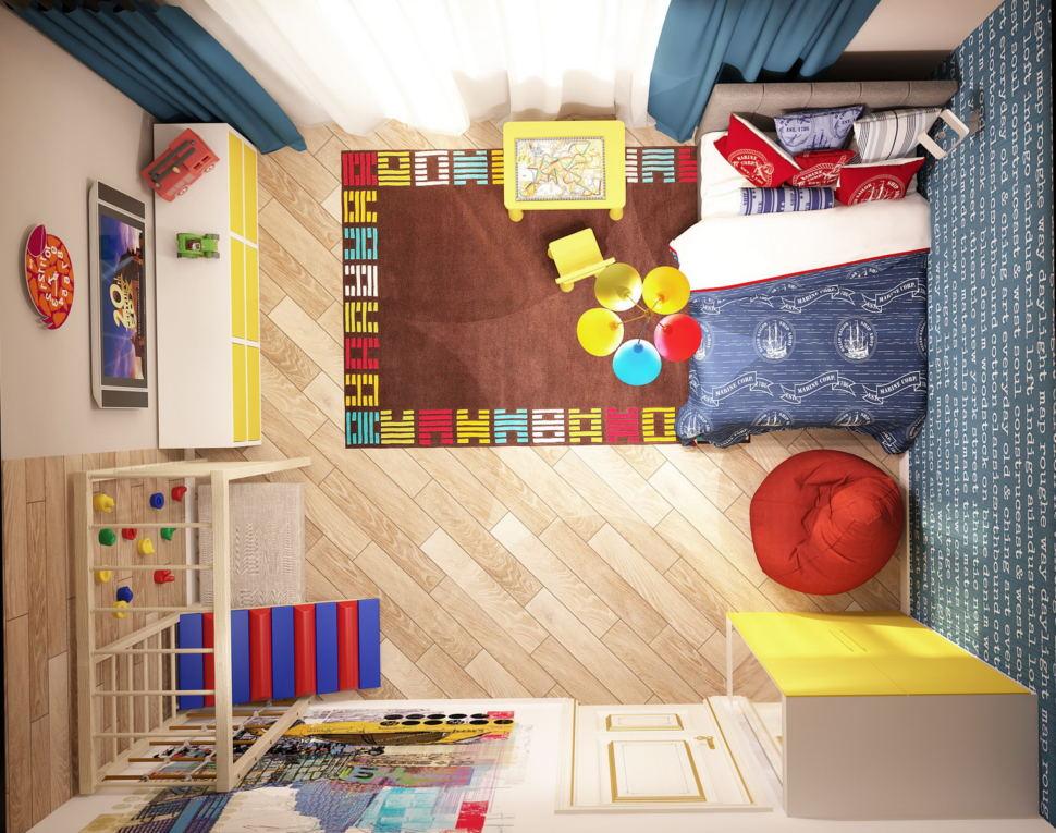 Интерьер комнаты для мальчика 19 кв.м в теплых тонах, кровать, тумба, шведская стенка, желтый шкаф, бежевый паркет