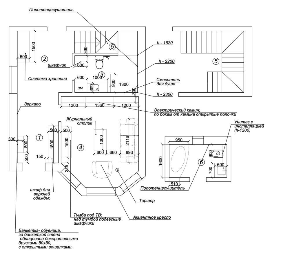 План расстановки мебели, план лестницы, план ванны