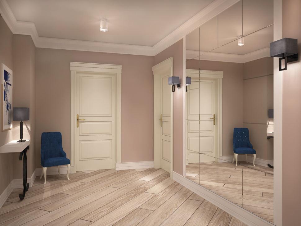 Коридор в светлых тонах 15 кв.м, кресло, шкаф, зеркало, светильники, белый стол