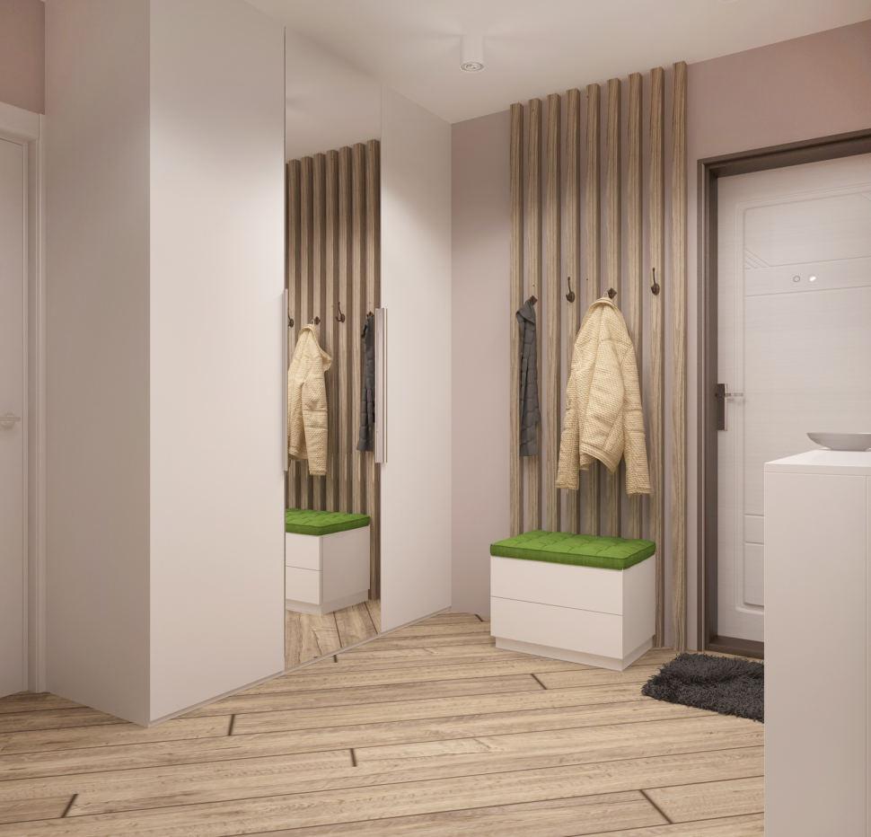 Визуализация прихожей в белых тонах 8 кв.м, белый шкаф, зеркало, белая тумба, белая скамья, вешалка, белые накладные светильники