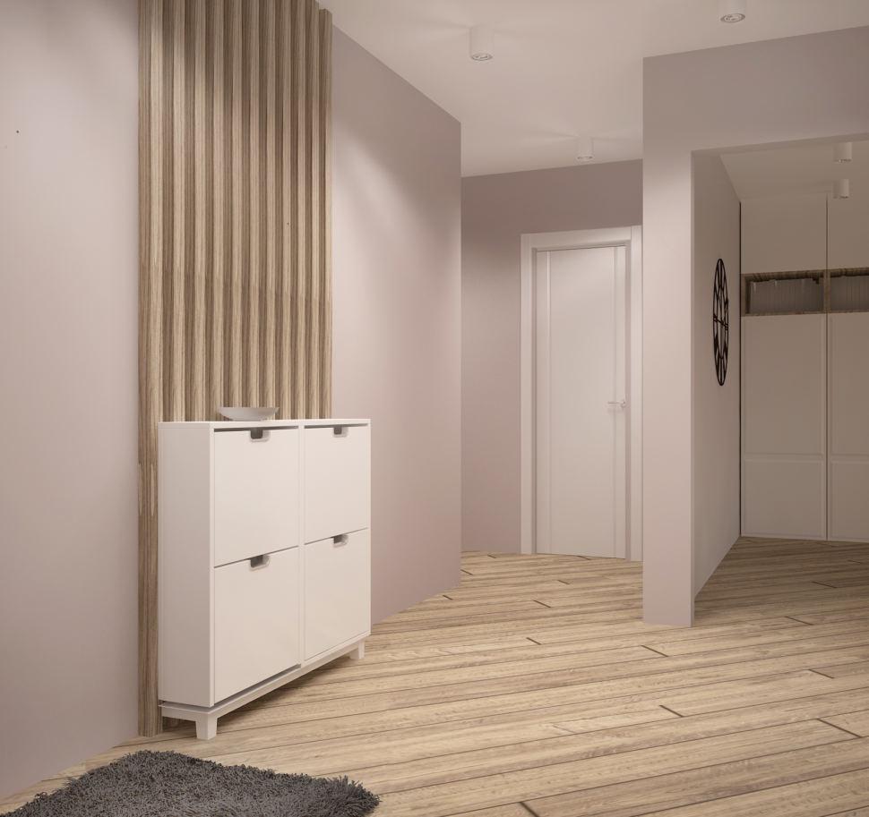 Визуализация коридора в бежевых тонах 4 кв.м, белая тумба, бежевый ламинат, белые накладные светильники