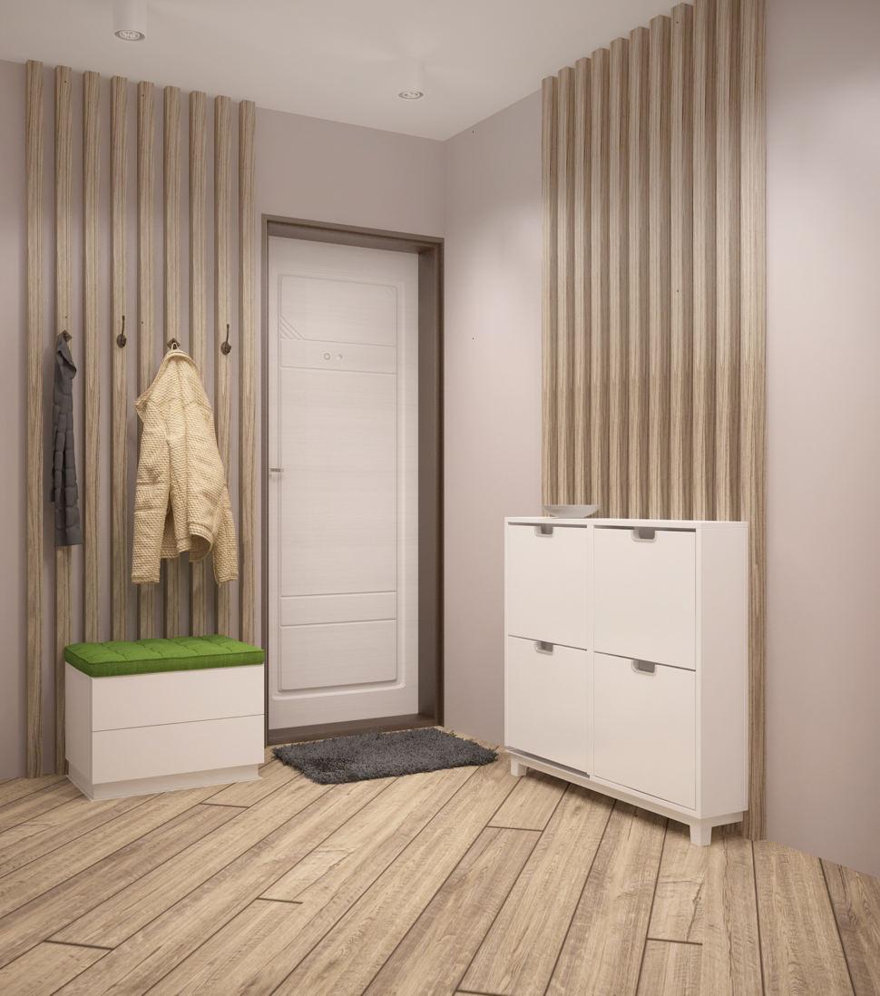 Дизайн-проект прихожей в белых тонах 8 кв.м, белая тумба, белая скамья, вешалка, белые накладные светильники