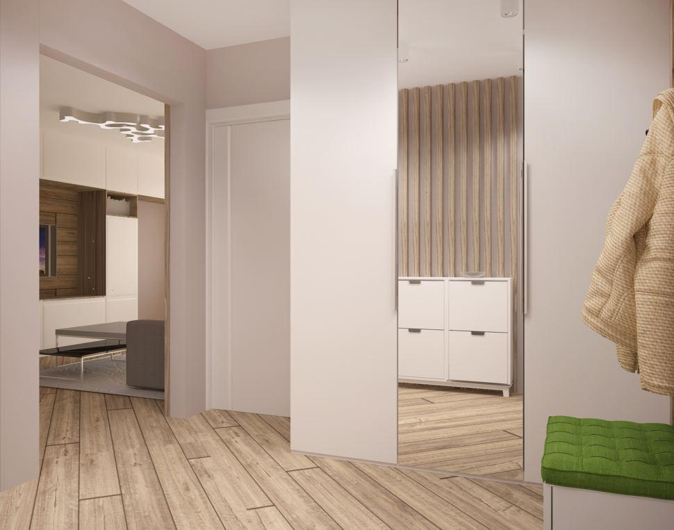 Визуализация прихожей в белых тонах 8 кв.м, белая скамья, вешалка, белый шкаф, зеркало, бежевый ламинат, светильники