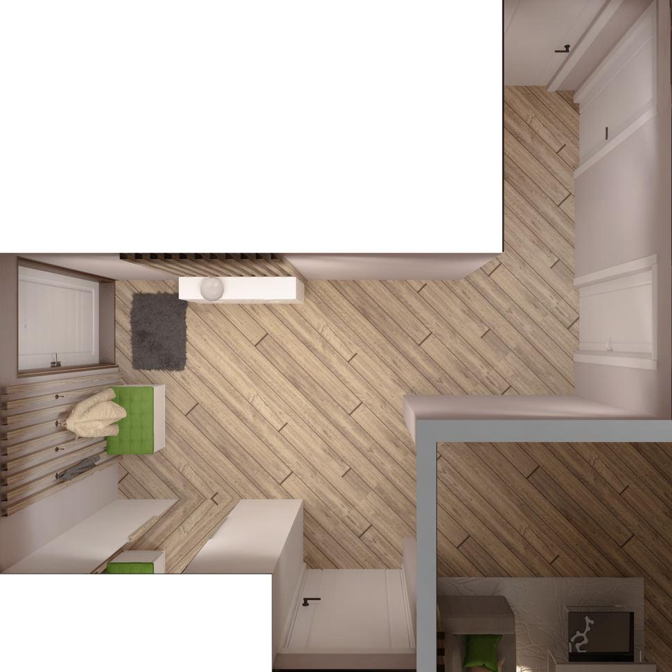 Визуализация прихожей 8 кв.м и коридора 4 кв.м, зеленая скамья, белый шкаф, вешалка, светильники, бежевый ламинат