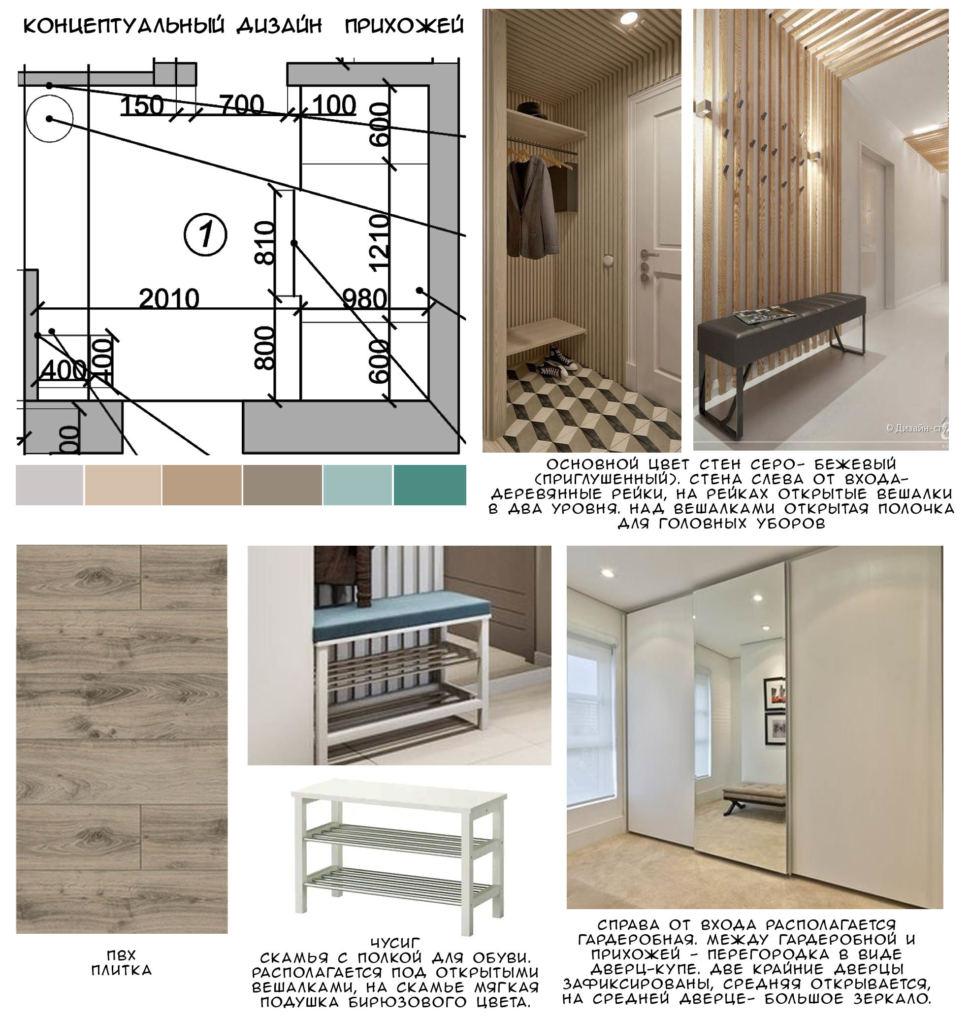 Концептуальный дизайн прихожей 7 кв.м, пвх плитка, белая скамья, белый гардероб, зеркало, вешалка
