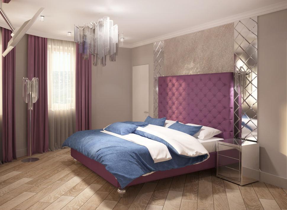 Визуализация спальни 28 кв.м, двухместная кровать, зеркальная прикроватная тумбочка, лампа, телевизор, зеркало, люстра, бра