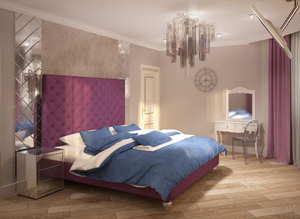 Интерьер спальни в фиолетовых тонах 28 кв.м, часы, люстра, туалетный столик, стул, кровать