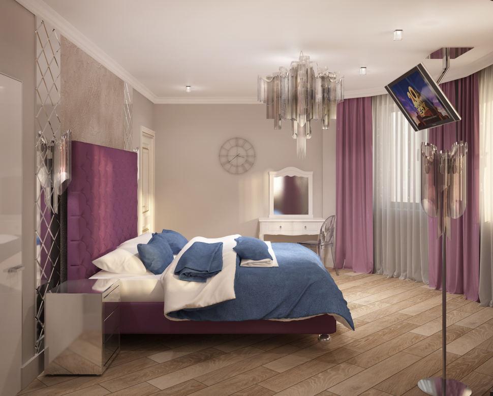 Дизайн-проект спальни в фиолетовых тонах 28 кв.м, белый туалетный столик, люстра, прикроватная тумбочка, фиолетовые портьеры, кровать
