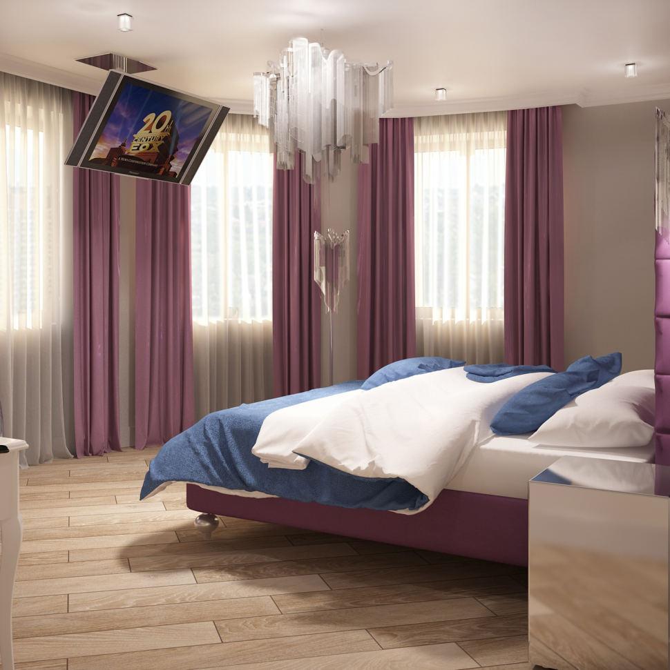 Визуализация спальни в фиолетовых тонах 28 кв.м, кровать, прикроватная тумбочка, телевизор, люстра, фиолетовые портьеры