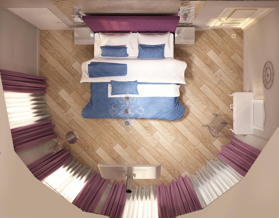 Дизайн интерьера спальни 28 кв.м, туалетный столик, фиолетовая кровать, прикроватные тумбы, телевизор, фиолетовые портьеры