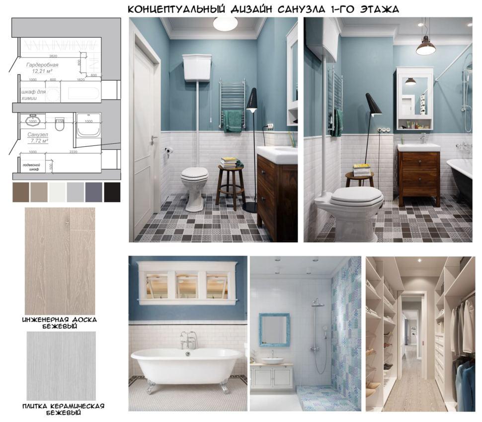 Концептуальный дизайн ванной с душевой 8 кв.м в коттедже с белыми и древесными оттенками, керамическая плитка, ванна, душевая кабинка