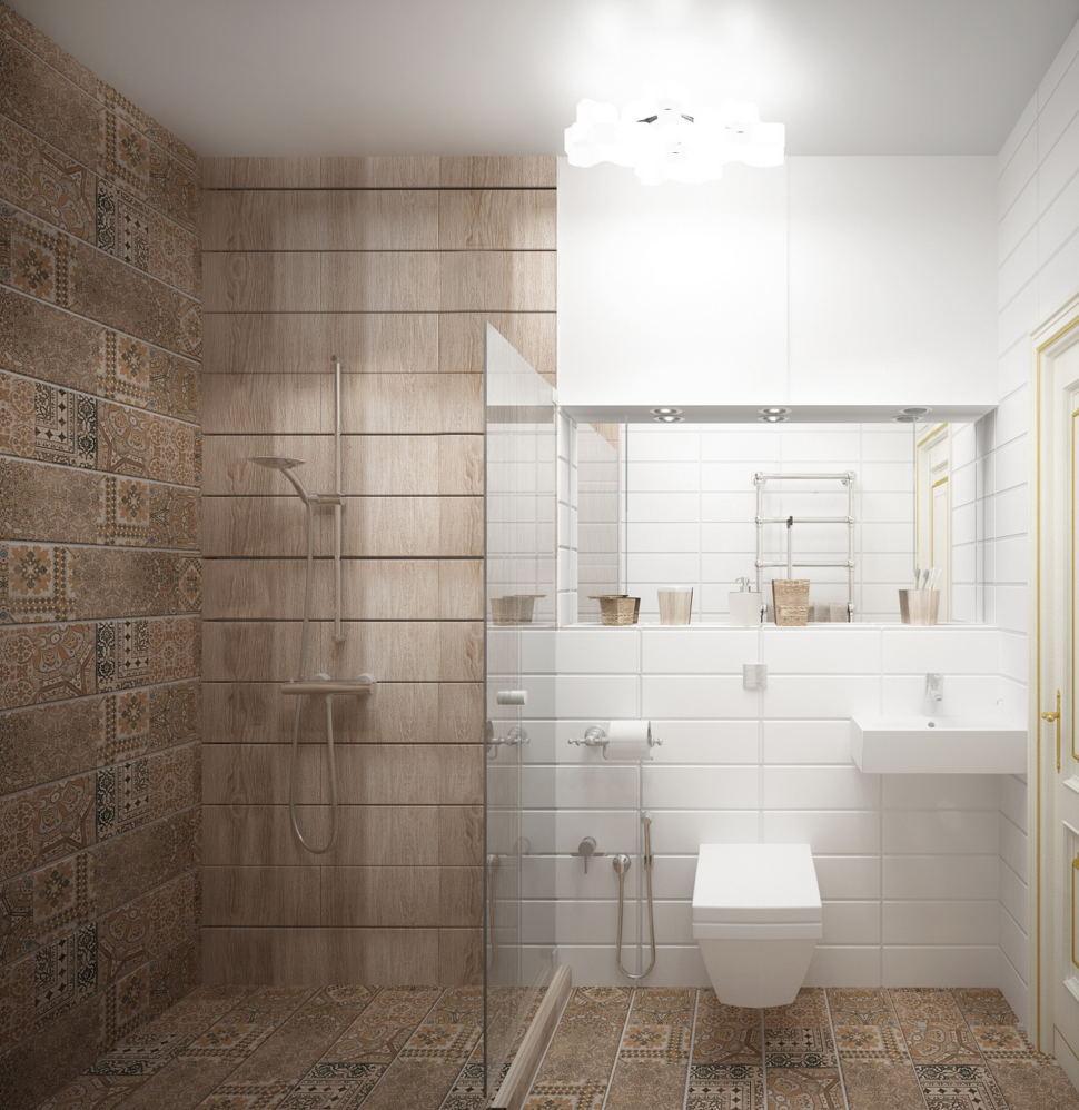 Визуализация санузла 4 кв.м, душевая кабинка, унитаз, раковина, зеркало, керамический гранит под дерево, плитка белая